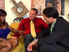 Alpha Porno - Super muscular black chick with two black guys