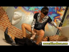 Glamorous lesbos get cumshower and si...