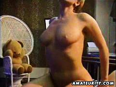 Alpha Porno - Busty blonde amateur wife sucks and fucks with cumshot on her big tits