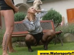 Pissing clothed golden shower outdoor...