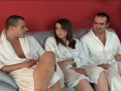 European girl fucked by two guys and ...