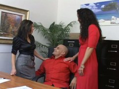 PornerBros - Two hot office babes fuck the boss