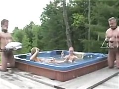 Nuvid - Two dudes a cock slaves to the blonde bitches in the hot tub