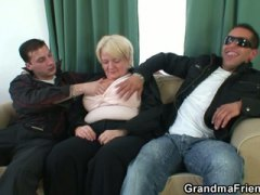 Busty drunk granny double cock fun