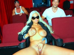 Keez Movies - Big-tit blonde pornstar has an anal DP threesome in a porn cinema