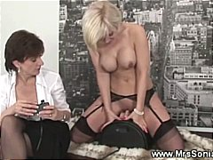 Horny blond rides on saddle vibrator