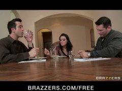 Keez Movies - BIG TIT BRUNETTE HAS DOUBLE PENETRATION THREESOME ORGY WITH BOSS