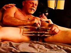 DrTuber - Gorgeous built hung stud Eric's first time ball crushing CBT session using my vise then my hand.