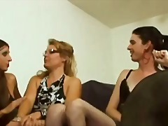 Trio Two SHemale vs One girl HOT