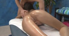 Oiled up massage client is fucked well