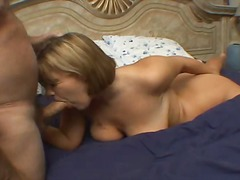 Chubby busty blonde does an old guy