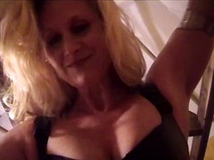 Xhamster - Mistress Amberle, in fishnets, walking all over her bound slave