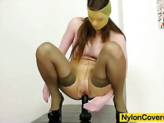 Mona Lee nylons fully covered dildo m...
