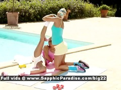 DrTuber - Iris and Devin sporty lesbians kissing and teasing outdoor