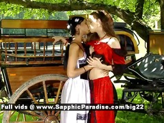 DrTuber - Ashley and Juliette from sapphic erotica lesbians undressing outdoor