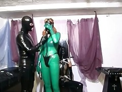 Two horny slut dress in latex and pla...