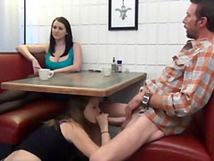 Xhamster - Daughter gives footjob and bj to not her under the table