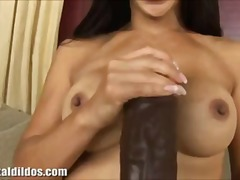 Busty asian babe riding a brutal brow...