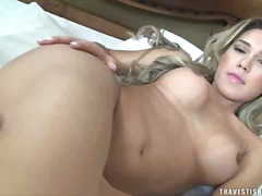 Sexy blonde has flaming jerk off