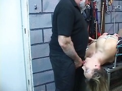 Chubby bdsm slut gets nipples pinched...