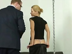 Sexy blonde lady getting hard spanking