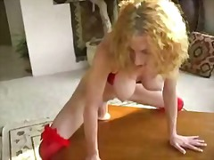 Hot blonde with amazing tits riding h...
