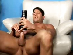 Jeremy walker plays with rubber pussy