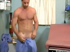 Horny doctor teasing his hard cock