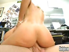 Blonde babe sucks dong and bouds on i...