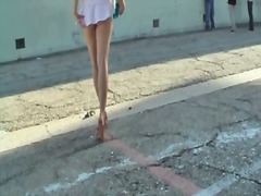 Tasty upskirt flashing outdoors with ...