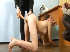 Dirty job interview for shy secretary