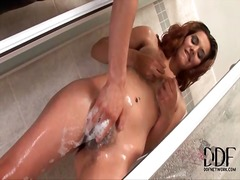 Alpha Porno - He washes her hairy pussy in the shower