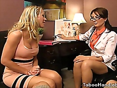 Taboo handjobs, done by two sexy milf...