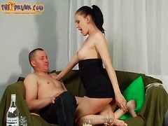 Tasty russian in strapless dress gets...