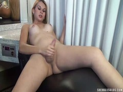 Gorgeous shemale jerking off