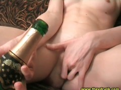 Skinny drunk chick fucks pussy with b...