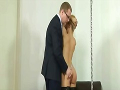 Spanking time for sexy blonde lady