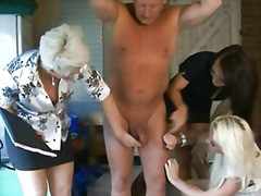 Cfnm femdoms in group humiliating the...