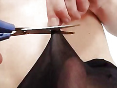 Solo gay rick cums on his nylon panty...