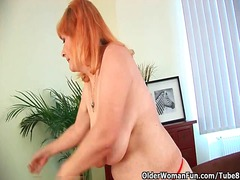 Tube8 - Hairy grandma with big tits has solo sex