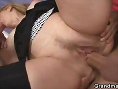 She swallows two cocks at once