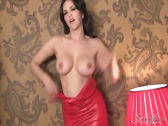 Sexy red dress on pornstar sunny leone