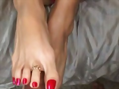 Foxy anay gives footjob ends with cre...