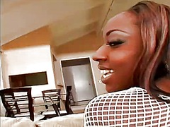 WinPorn - Busty ebony babe with sexy long legs has a huge black dick banging her twat deep