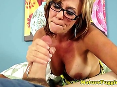 Vporn - Busty mama cougar spoiling cock with tugjob session