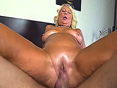 Blonde granny banged by younger guy