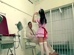 Horny uk nurse gets a taste of a huge...