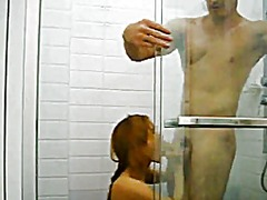 Shower with an asian woman