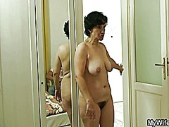 Old bag jumps at her son-in-law's cock
