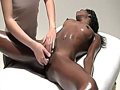 Woman relieves stress through massage, rub and fingering wf